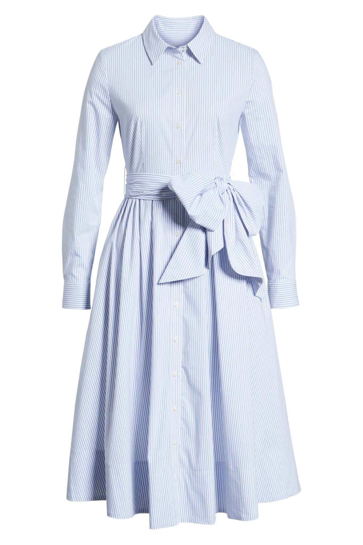 8666e81c5aa2 Lyst - 1901 Stripe Midi Shirtdress (regular & Petite) in Blue