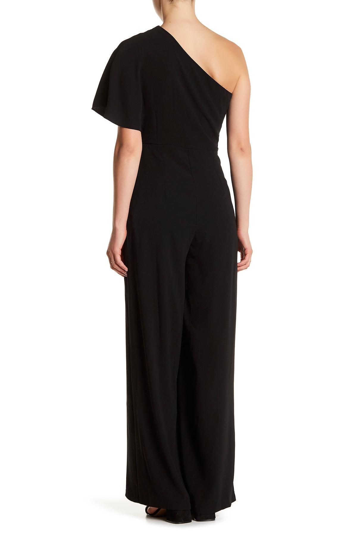 ba0e4a62b1e Lyst - Gracia One-shoulder Ruffle Layer Jumpsuit in Black