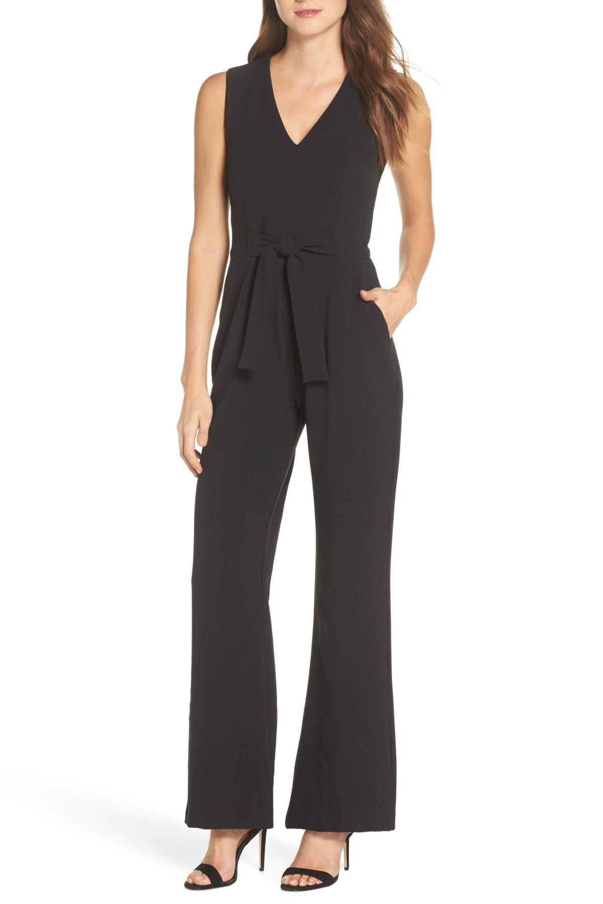 70575b942642 Lyst - Vince Camuto Tie Waist Crepe Jumpsuit in Black - Save 60%