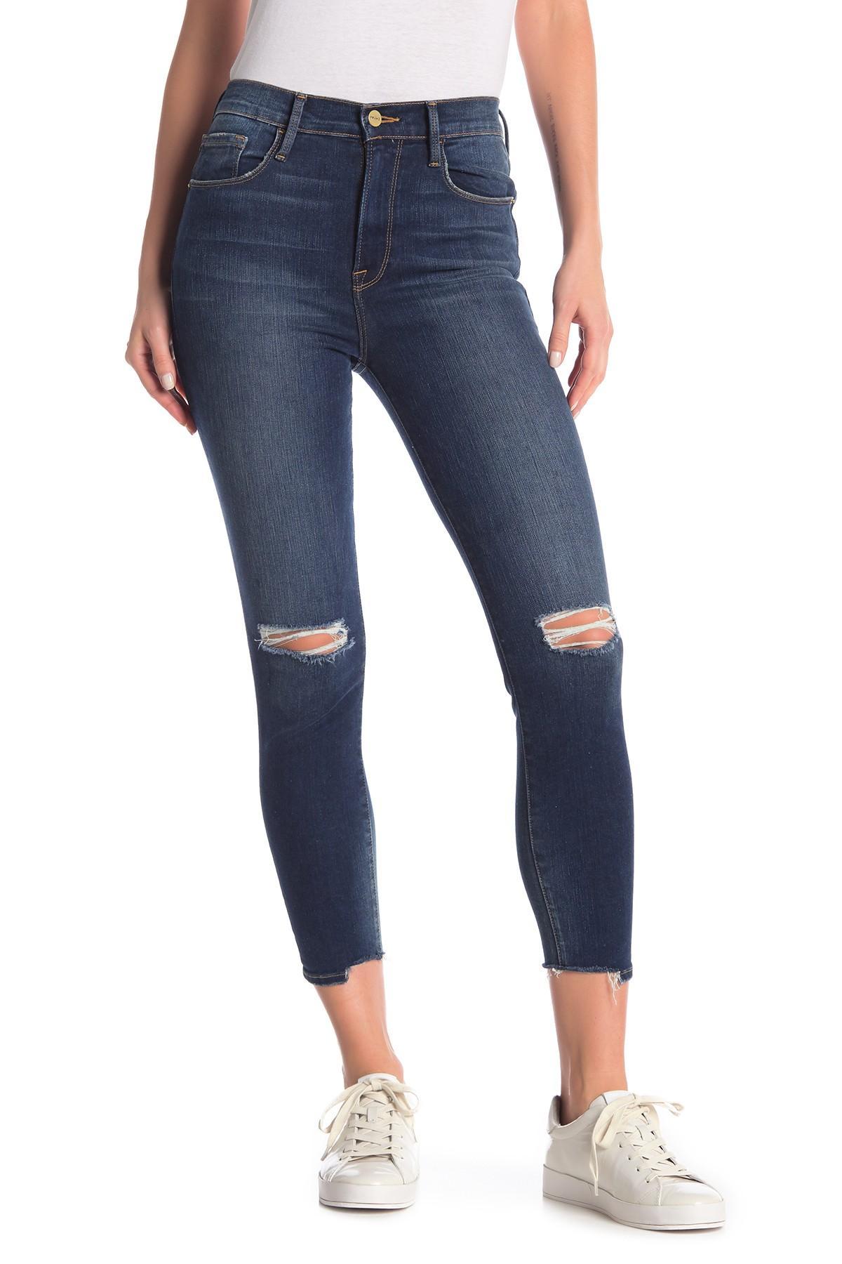 d87f767447df9 Lyst - FRAME Ali Distressed High Rise Cigarette Jeans in Blue