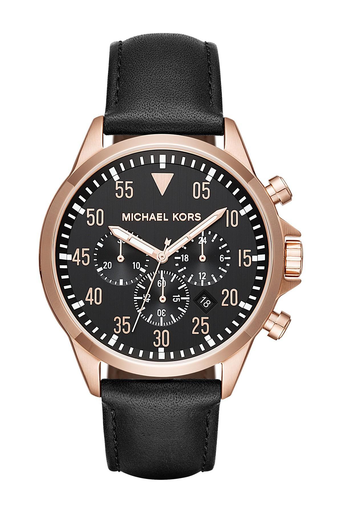 2fe06258bfd1 MICHAEL Michael Kors. Metallic Men s Gage Leather Strap Watch ...