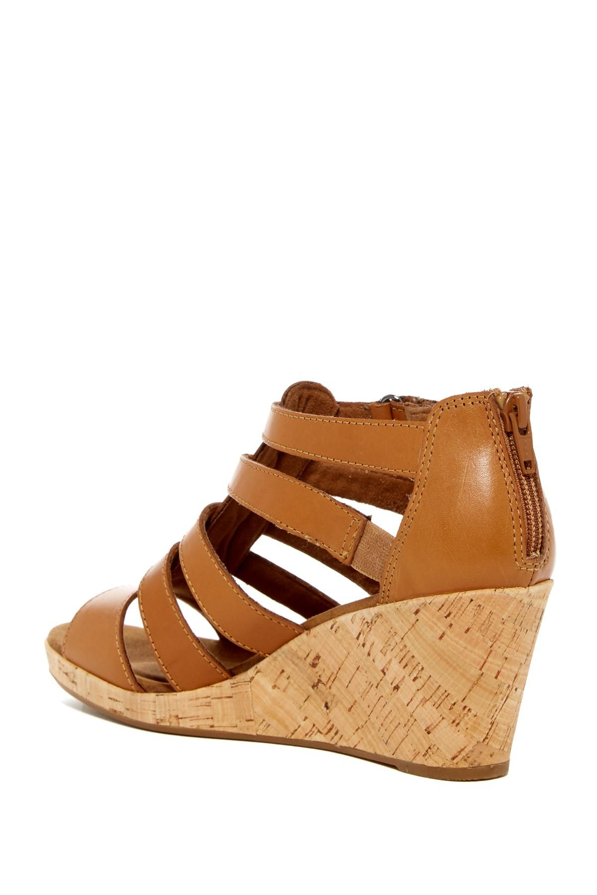Rockport Briah Gladiator Leather Wedge Sandal In Brown Lyst