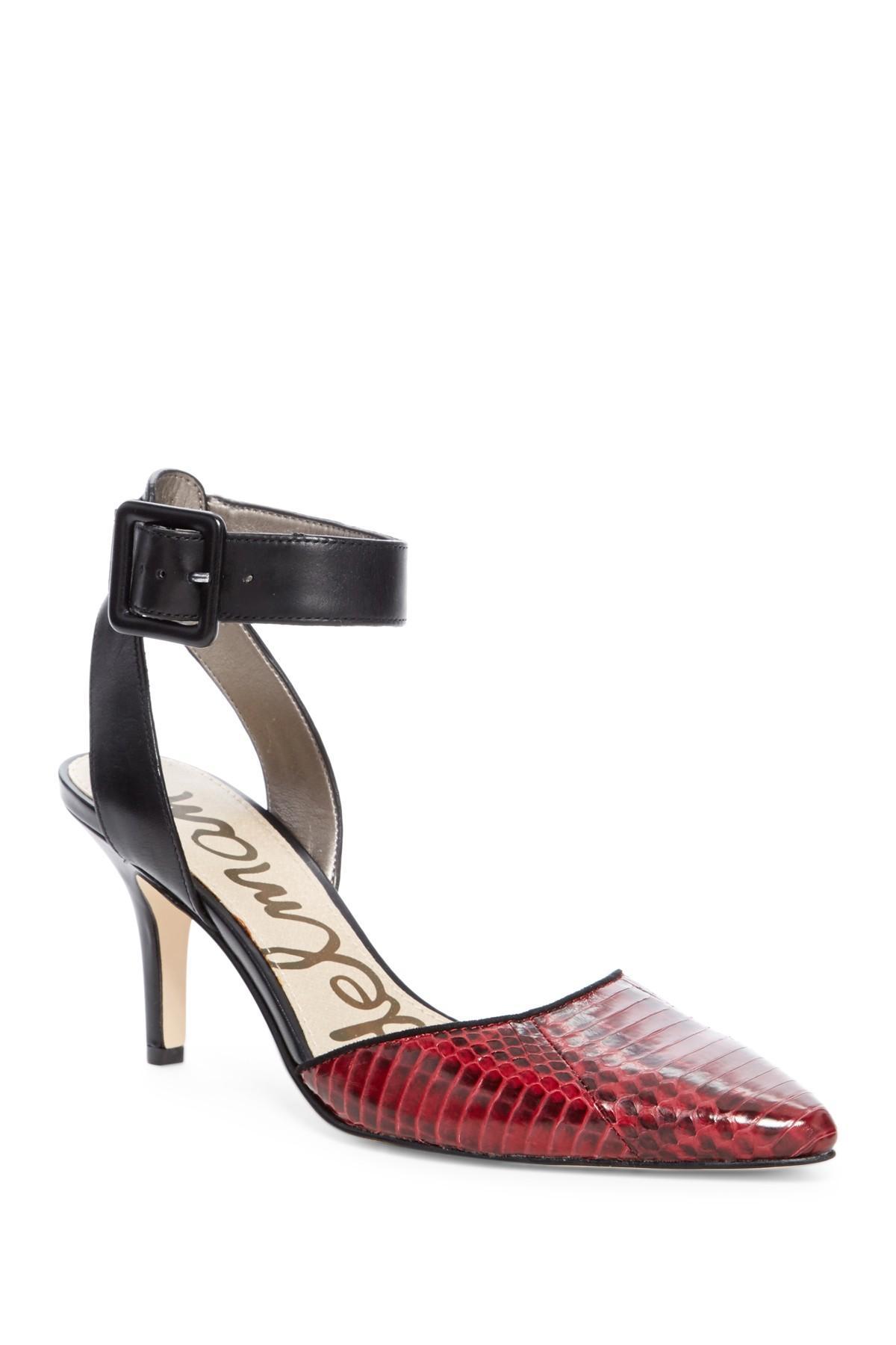 Sam Edelman Okala Ankle Strap Embossed Leather Pump In