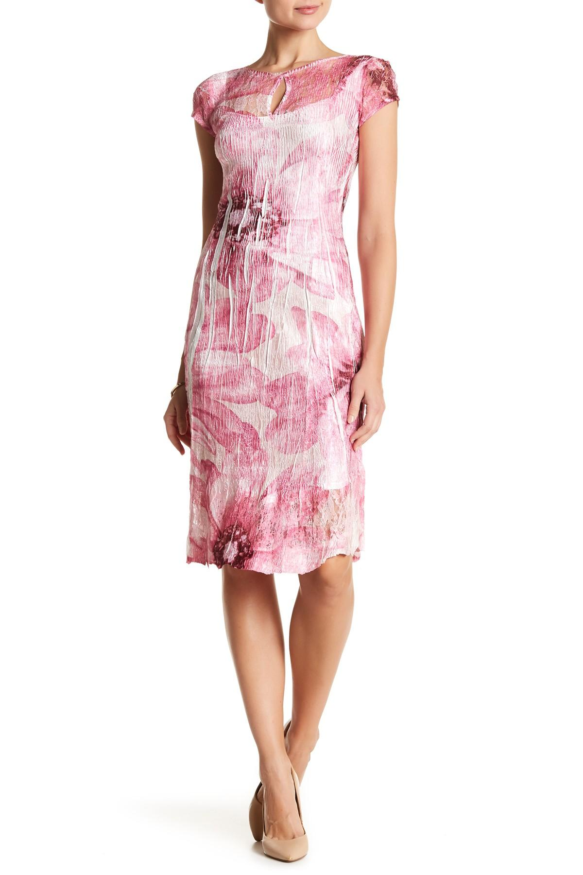Lyst Komarov Cap Sleeve Keyhole Dress In Pink
