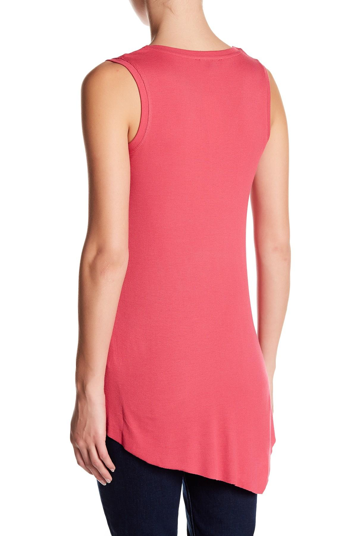 Lyst Cable Amp Gauge V Neck Rib Knit Tank In Pink