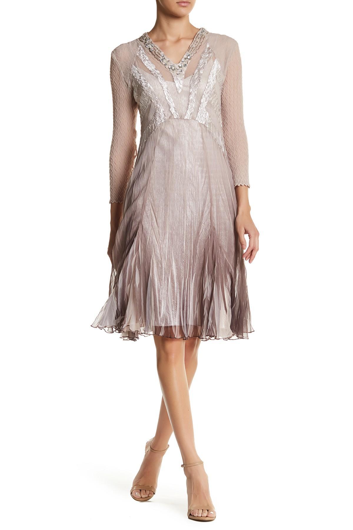 Komarov embellished v neck dress lyst for Nordstrom rack dresses pour mariage