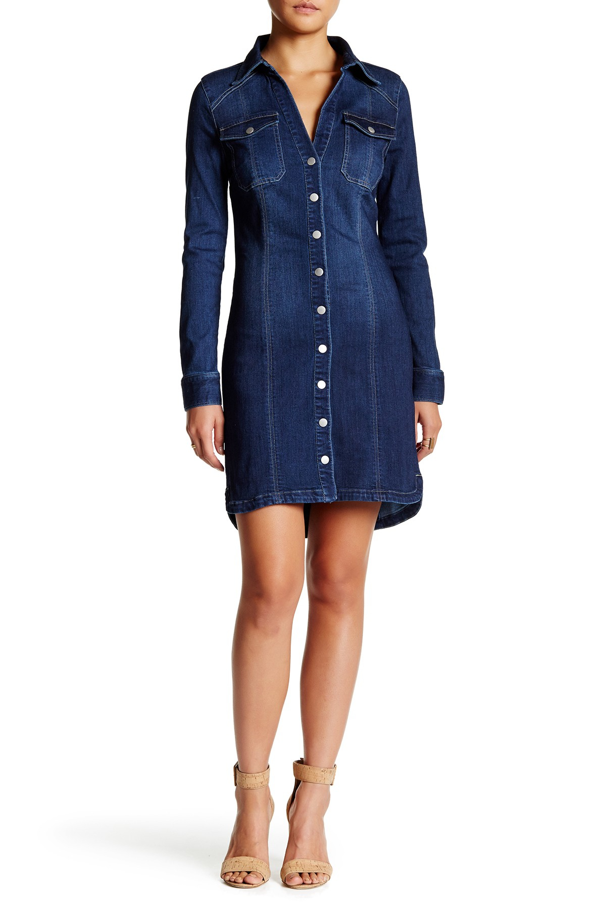 Alexia Admor Long Sleeve Denim Shirt Dress In Blue | Lyst