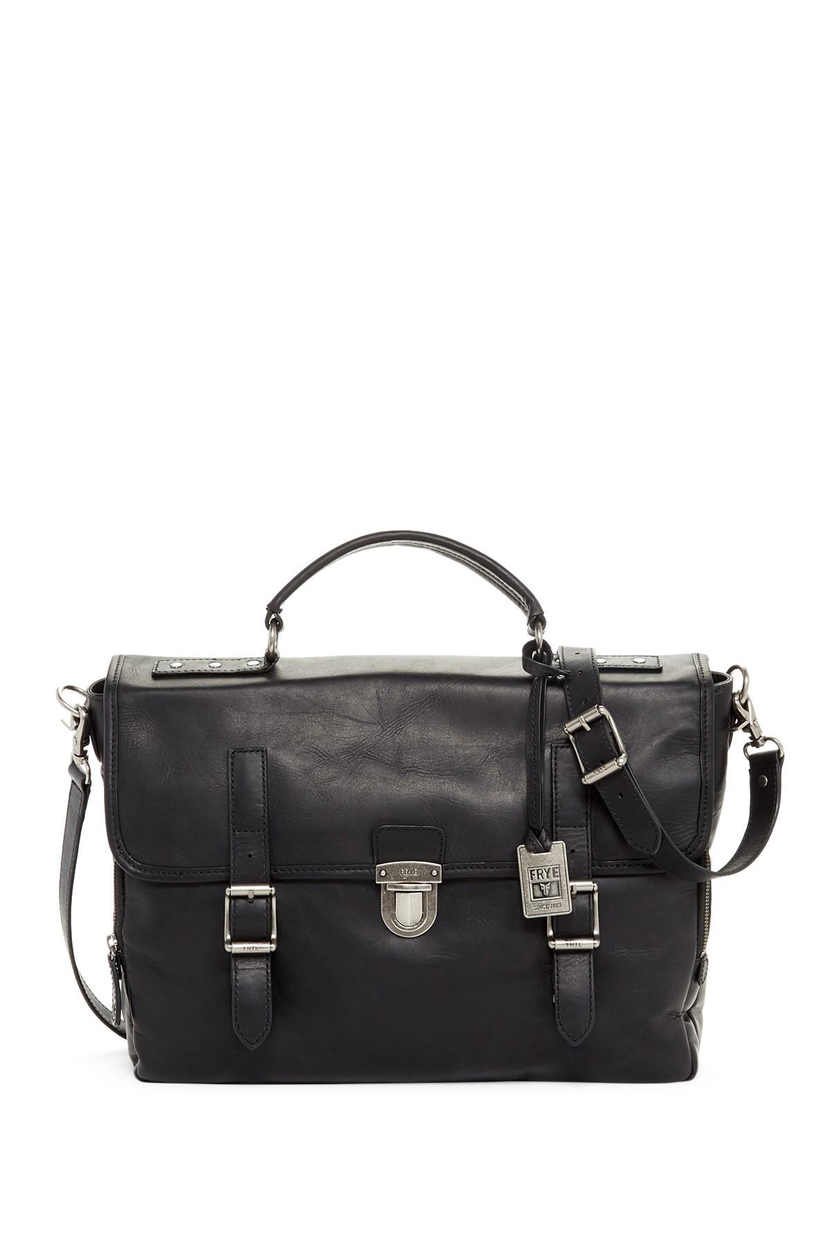 Frye Logan Leather Buckle Briefcase In Black For Men Lyst