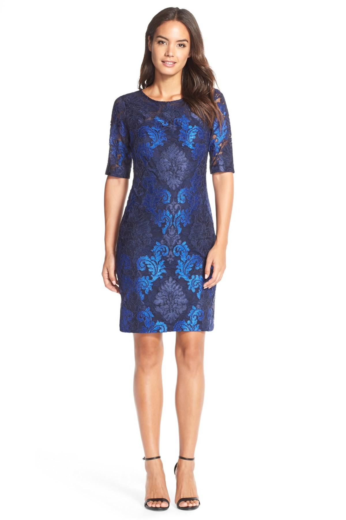 Donna ricco embroidered lace sheath dress in blue navy for Tj maxx wedding guest dresses