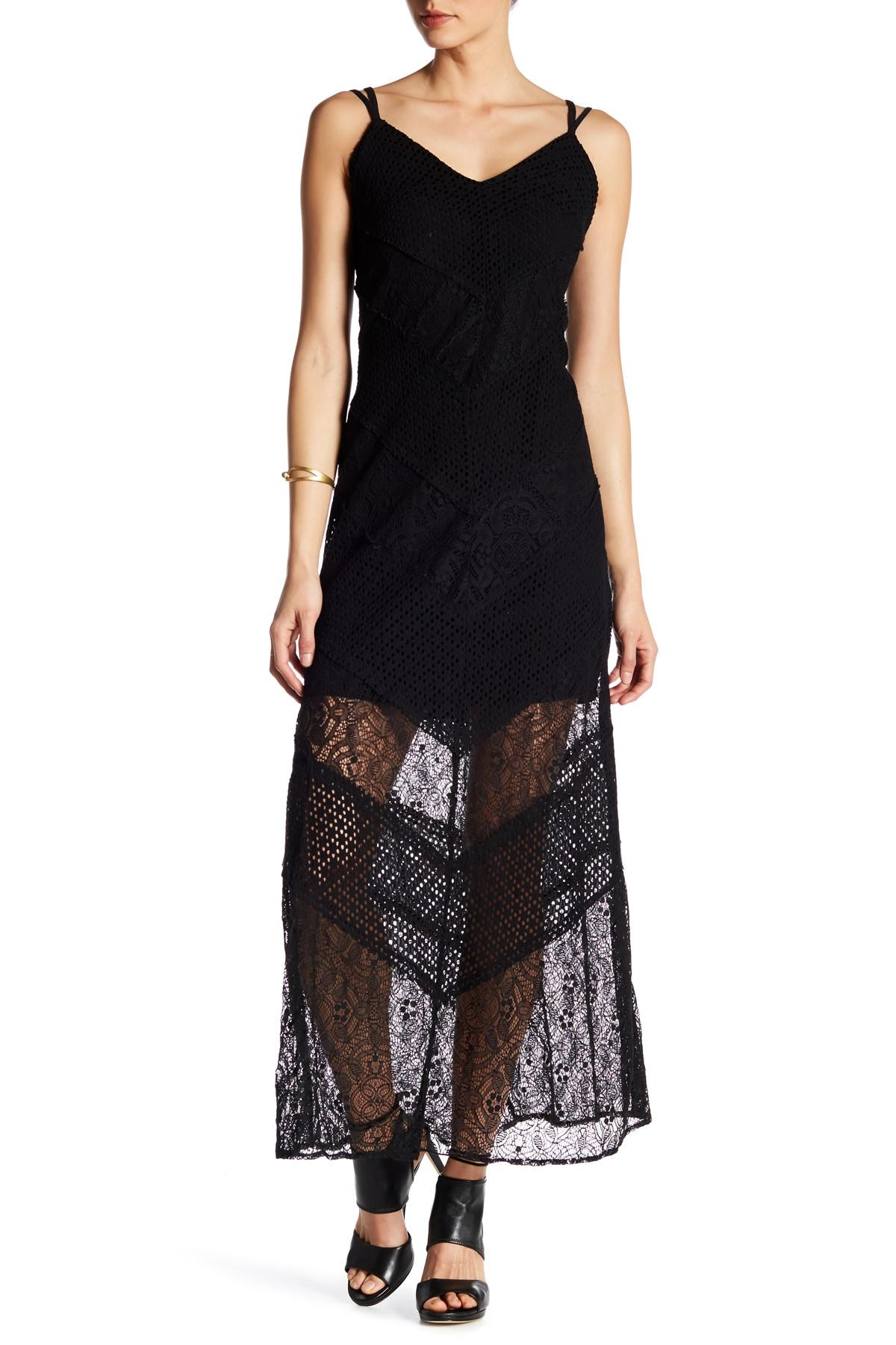 Lyst Adelyn Rae V Neck Woven Lace Maxi Dress In Black