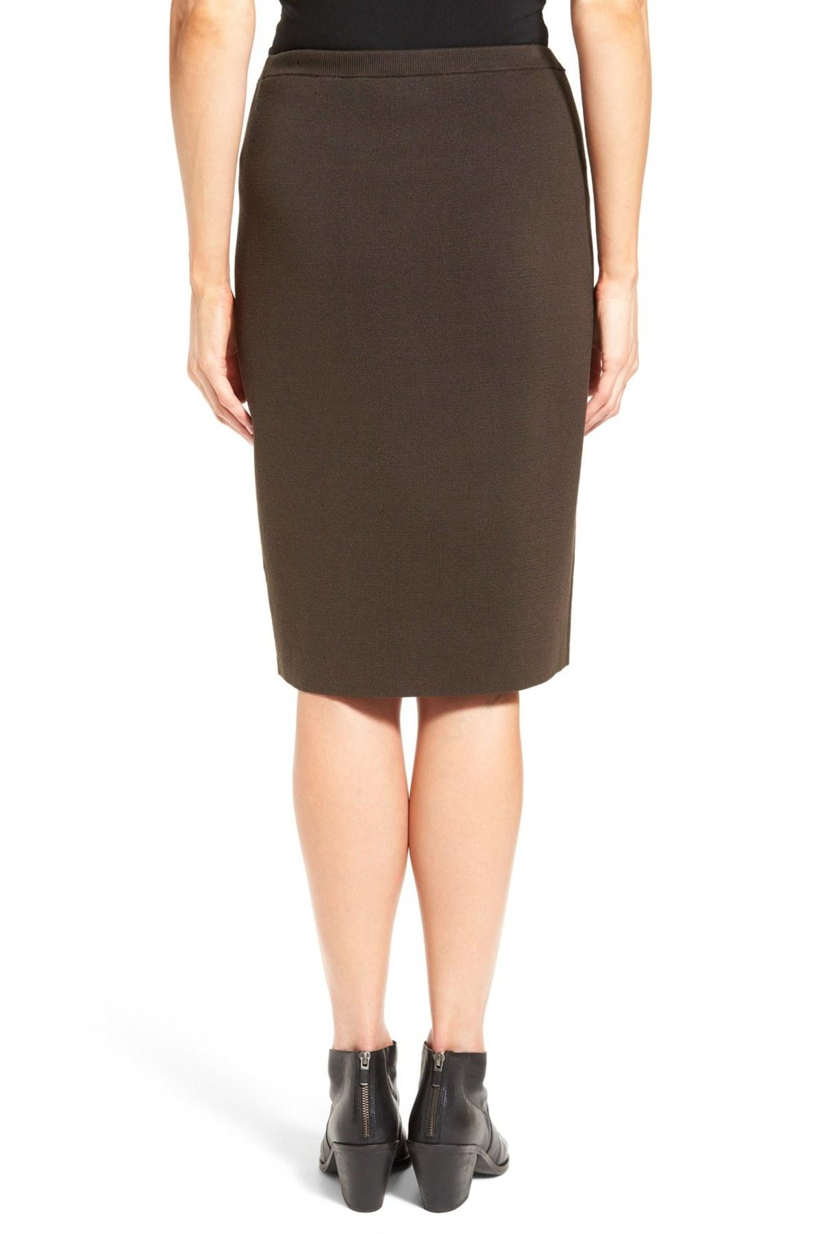 Job Brown straight skirt outfit...this