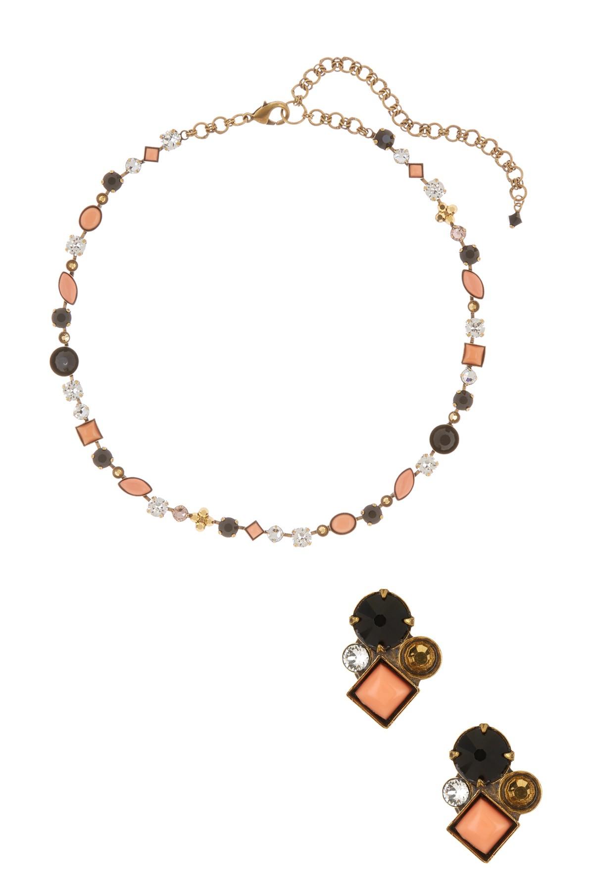Sorrelli Crystal Stud Earrings Amp Necklace Set In Black Lyst