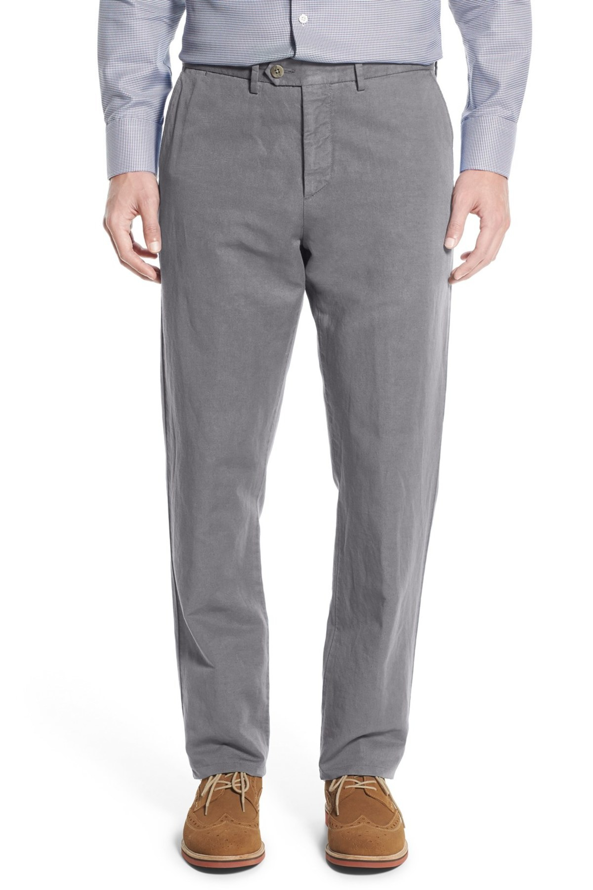 John w nordstrom tailored fit chinos in gray for men lyst for Nordstrom men s dress shirt fit guide