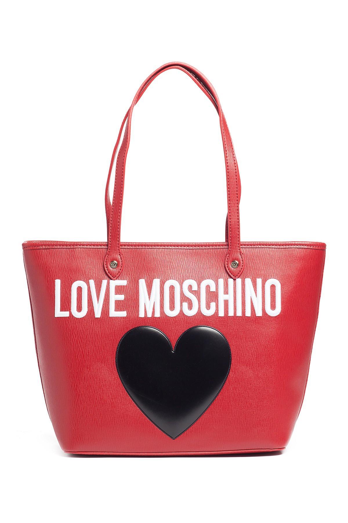 Lyst Love Moschino Saffiano Heart Tote In Red