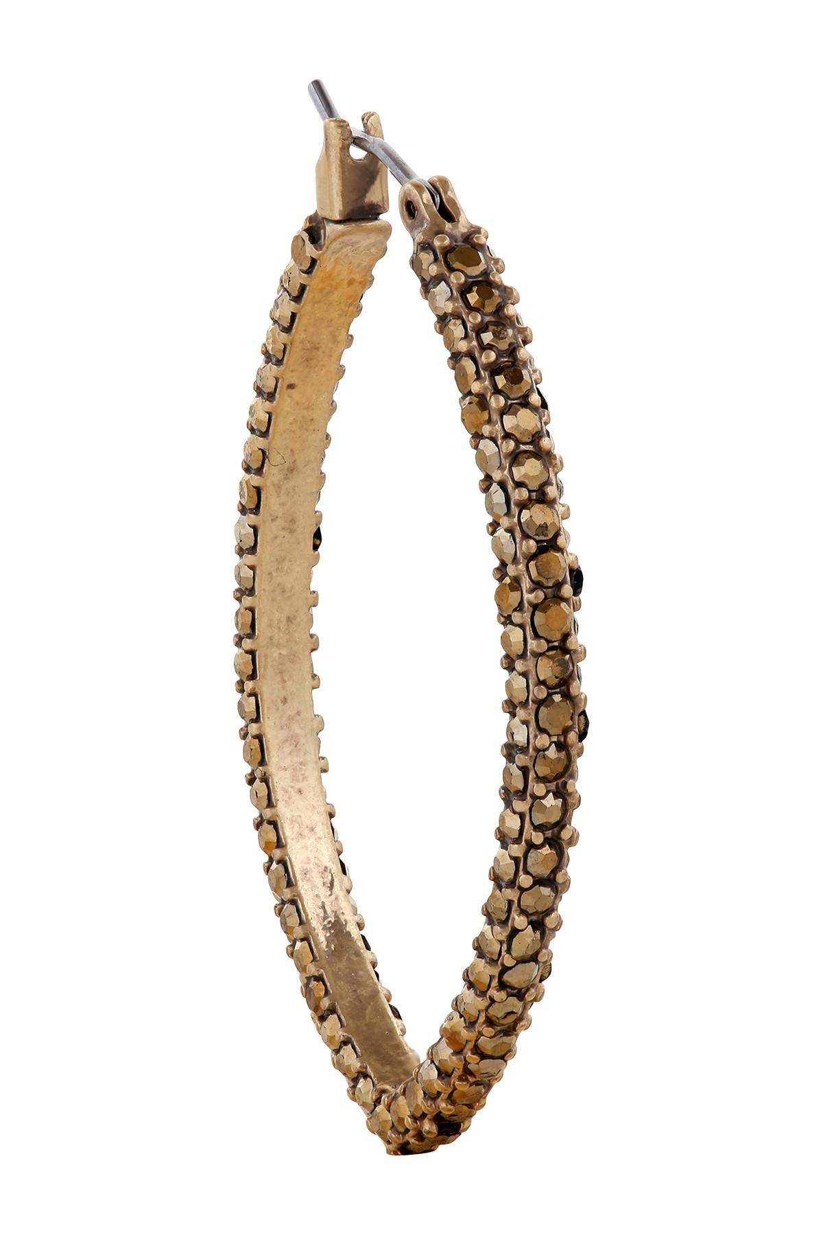 Lyst Lucky Brand Pave Hoop Earrings In Metallic