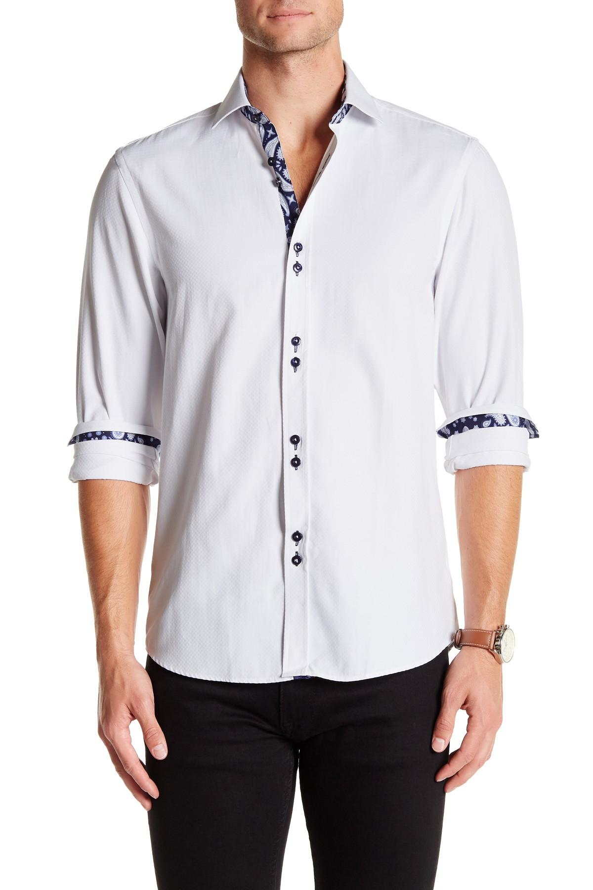 coogi oxford regular fit dress shirt in white for lyst