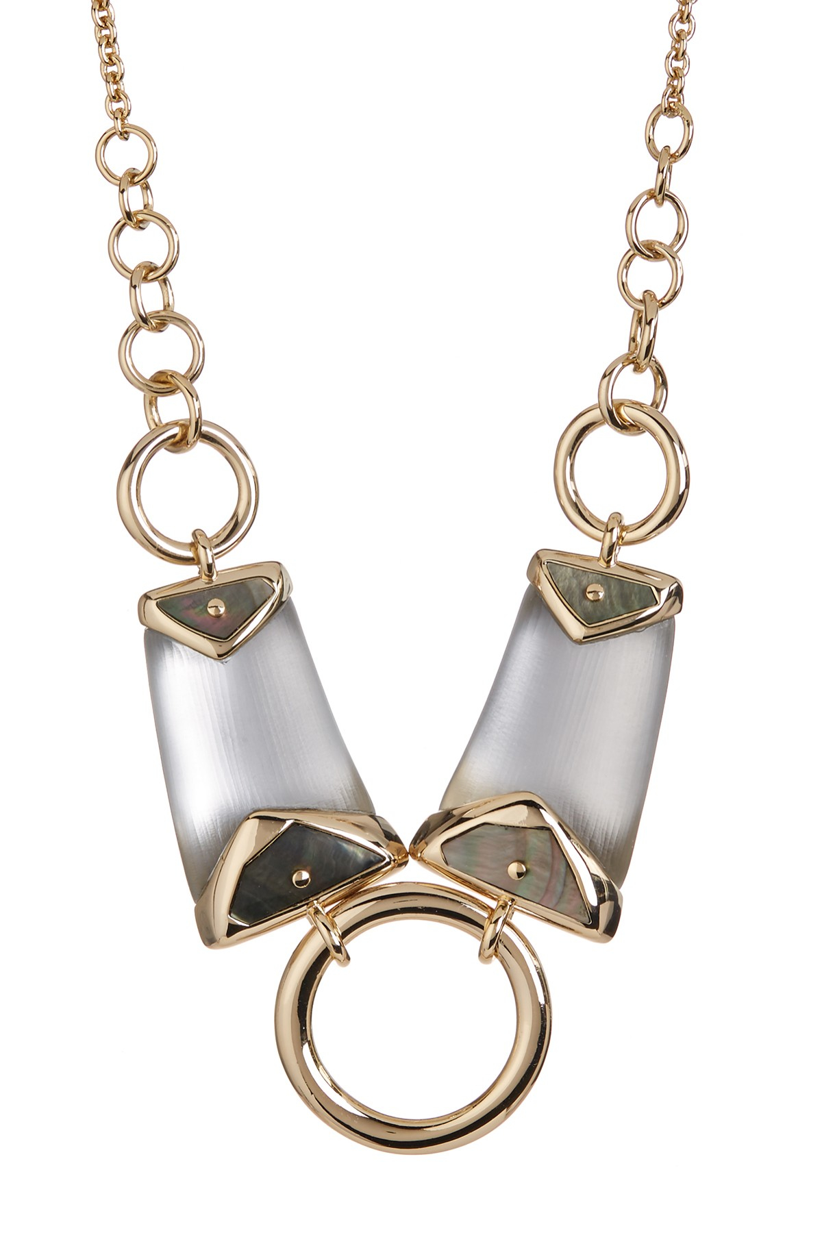 bittar lucite center ring bib necklace in gray