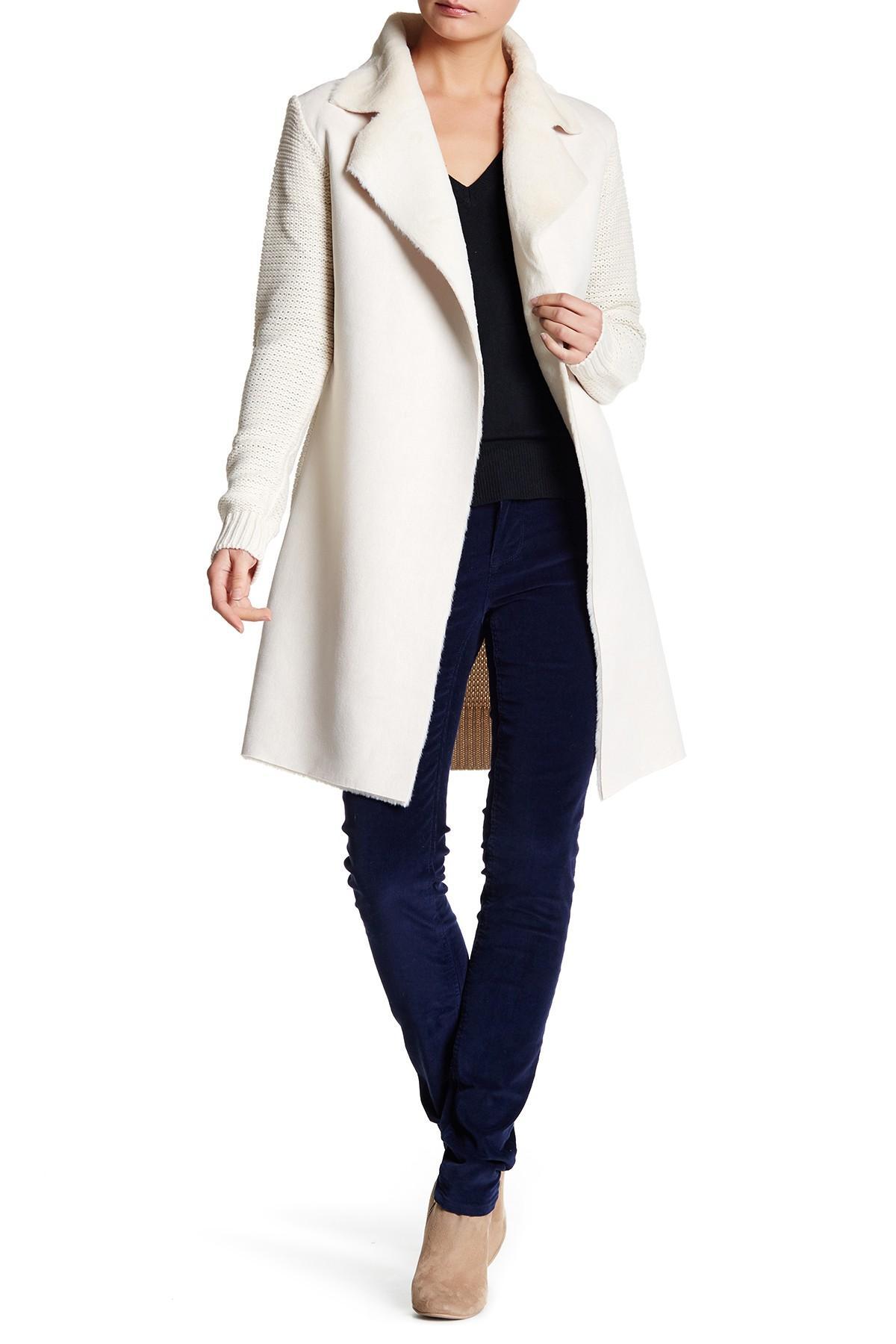 Love Token Faux Fur Sweater Coat In White Lyst