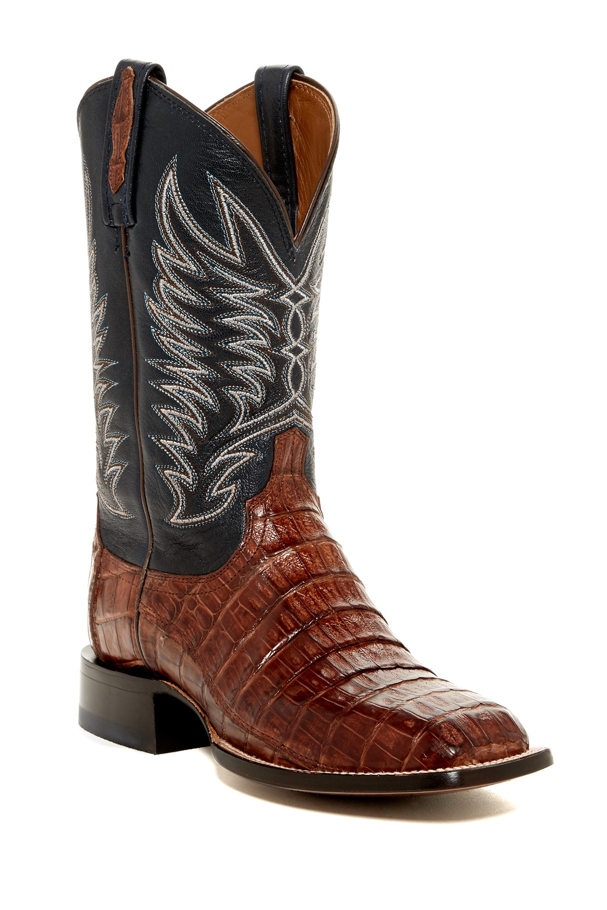 lucchese genuine caiman boot in brown for lyst