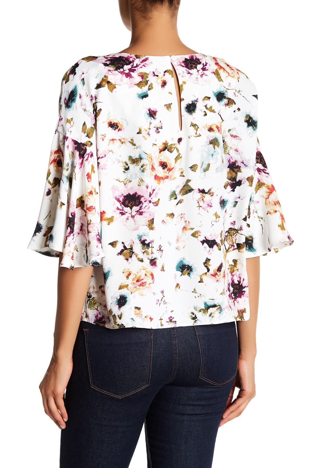 Adrienne Vittadini Floral Bell Sleeve Blouse Lyst