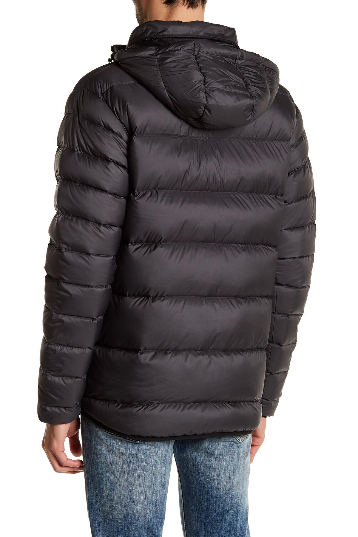 Lyst New Balance Quilted Puffer Hooded Jacket In Black