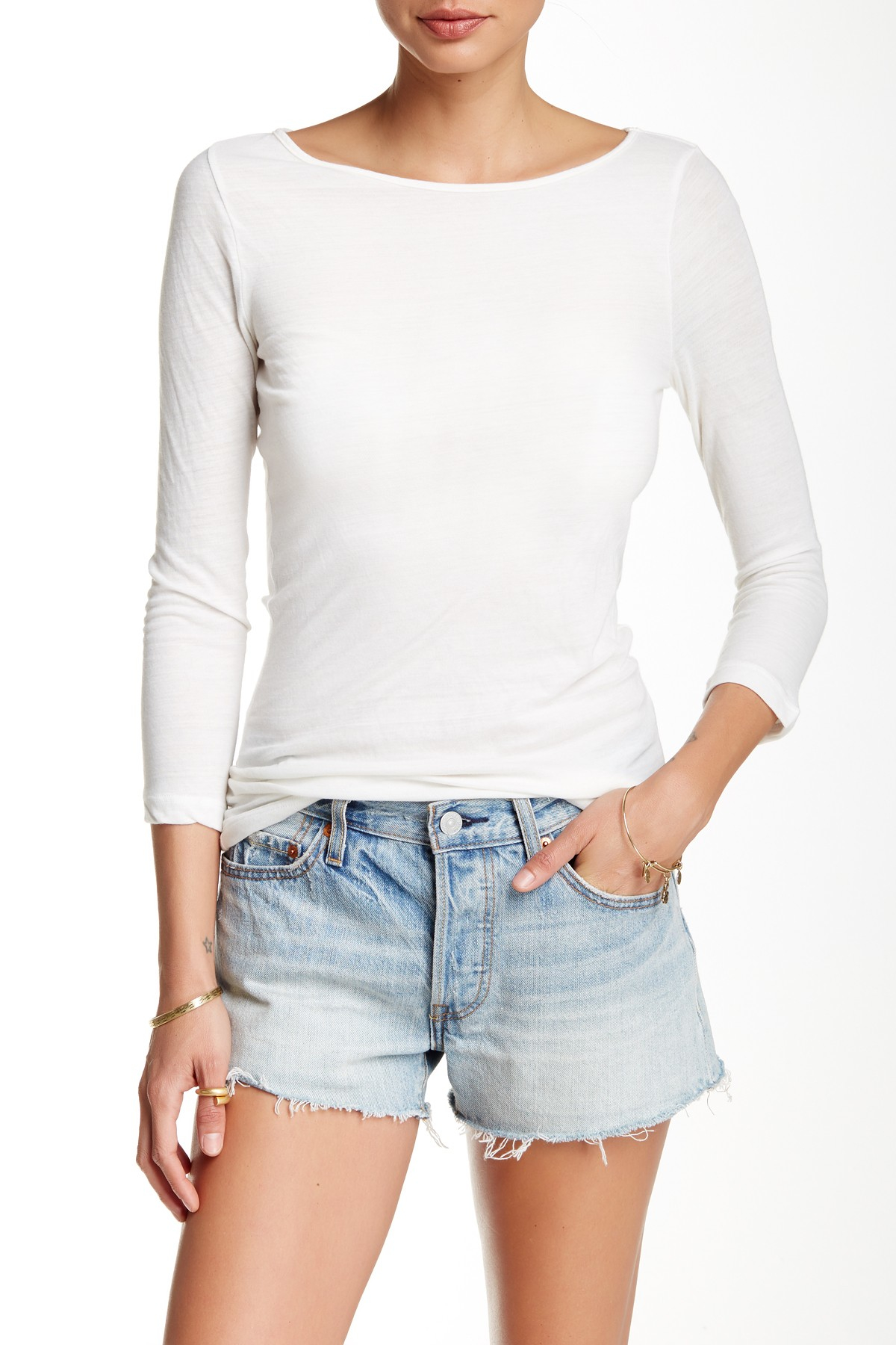 Lyst three dots mohave boatneck tee in white for Three dots t shirts