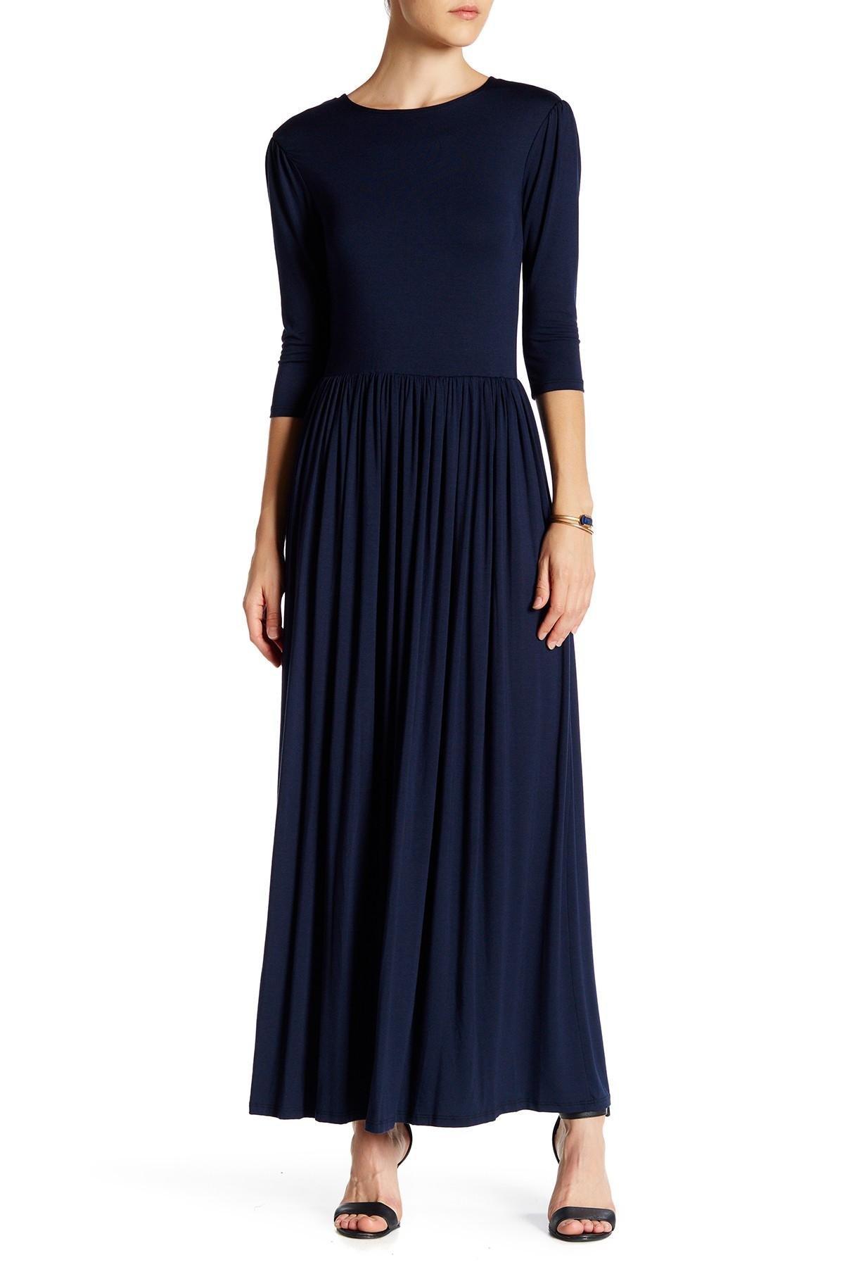 Go Couture 3 4 Length Sleeve Pleated Maxi Dress In Blue Lyst