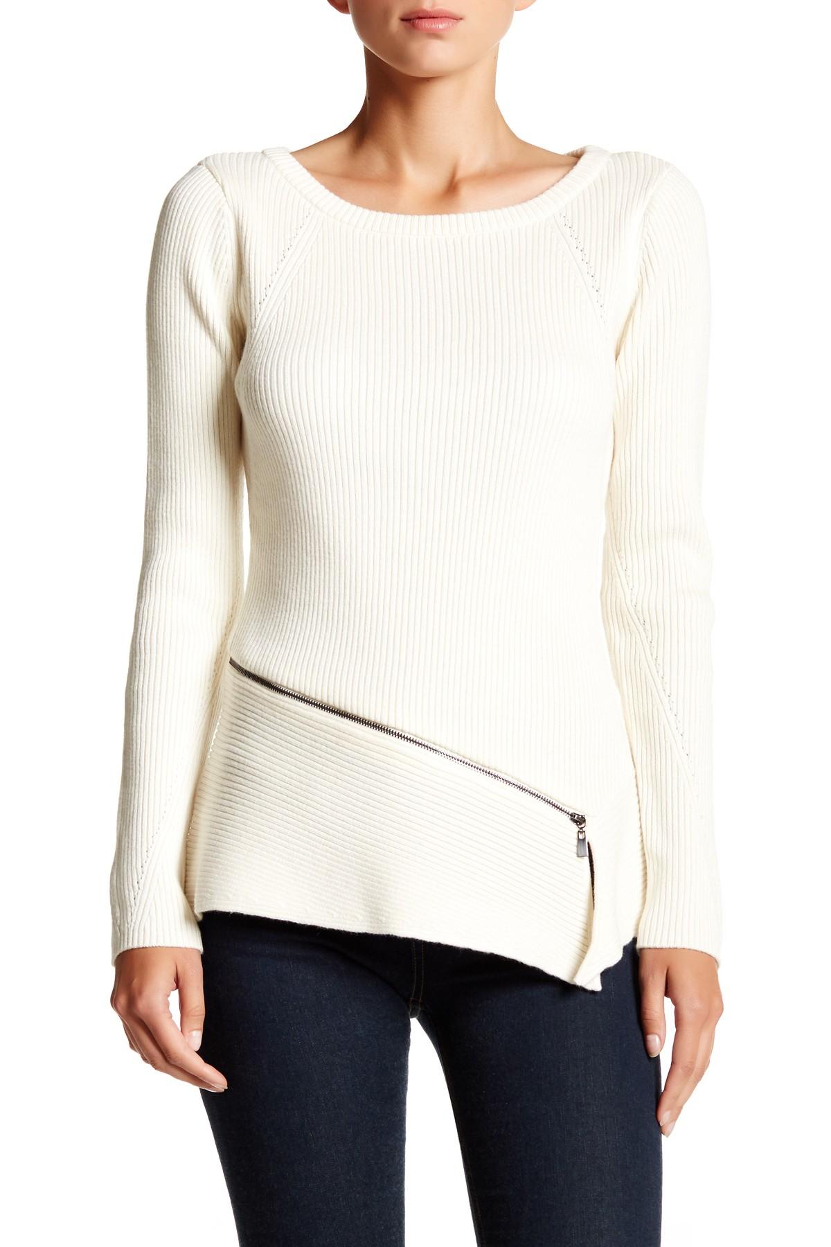 Laundry by shelli segal Zipper Sweater in White | Lyst