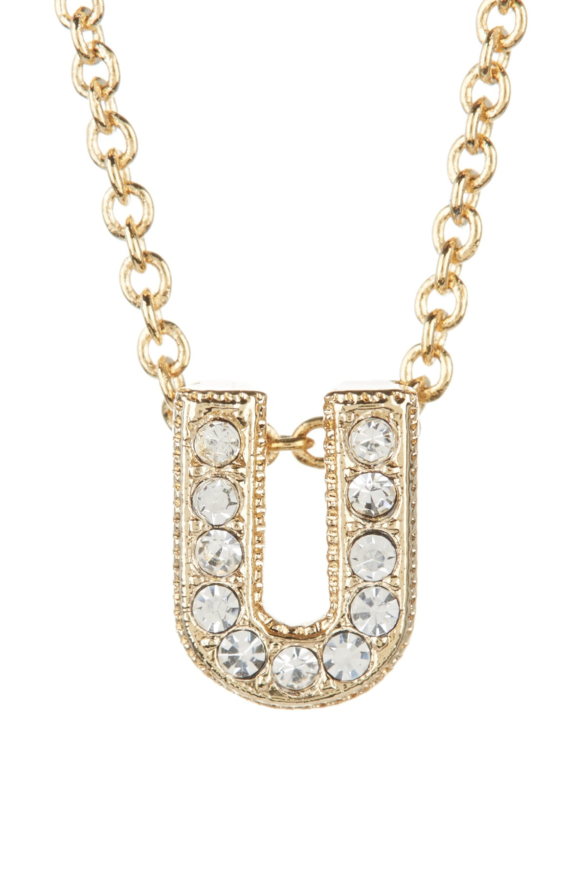 Nadri initial pendant necklace traumspuren nadri 18k gold plated pave quotuquot initial pendant necklace in aloadofball Choice Image
