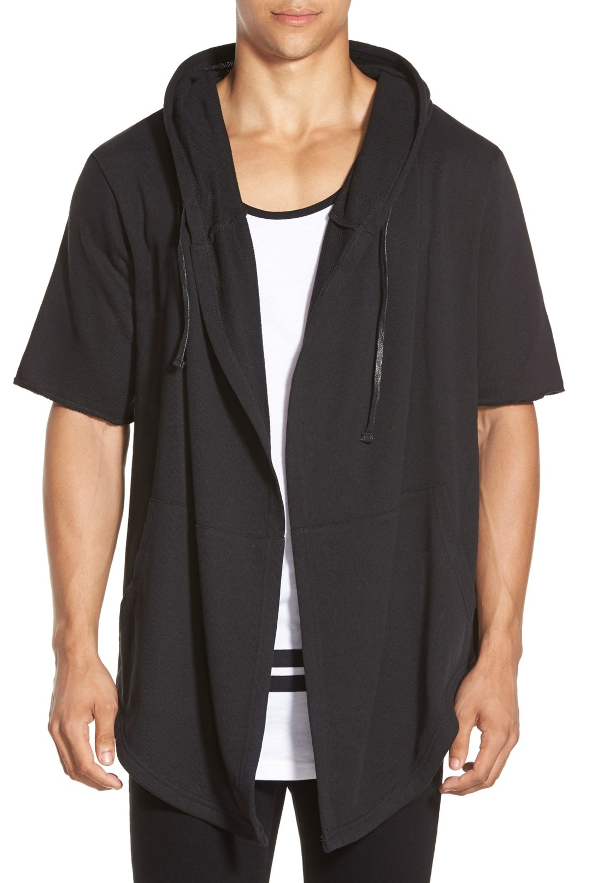 the narrows oversize open front hoodie in black for men lyst