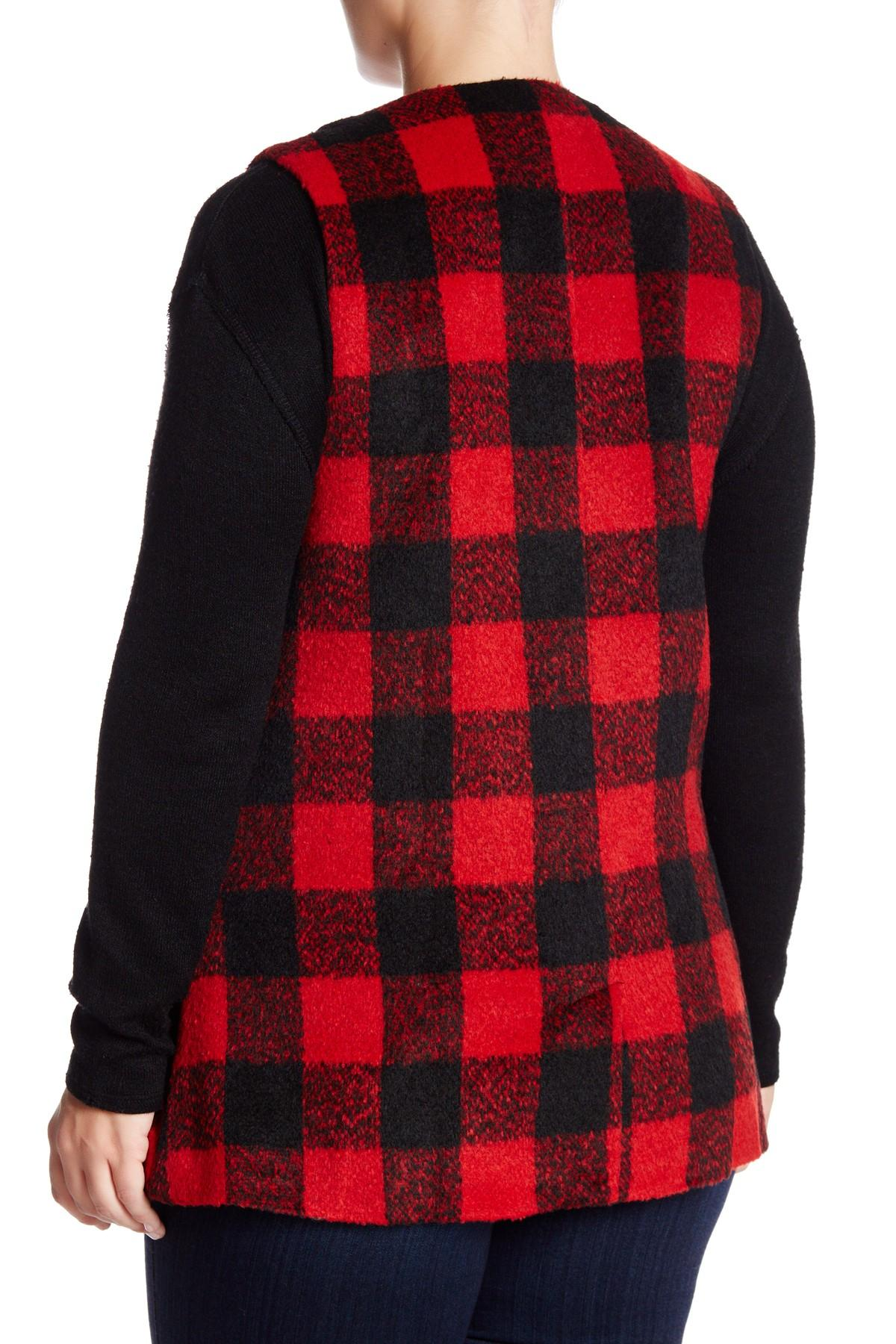 Jolt Long Plaid Buffalo Vest In Red Lyst