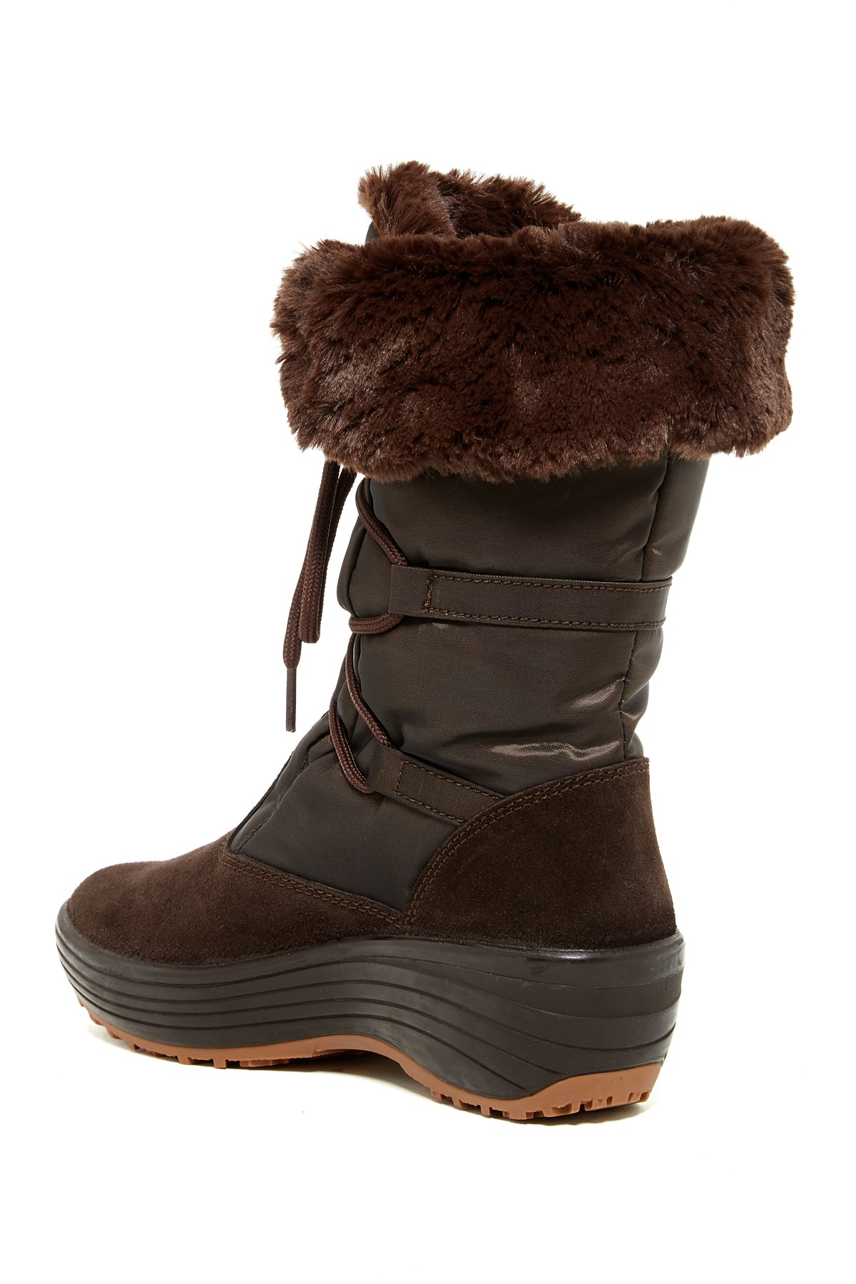 pajar faux fur lined boot in brown lyst
