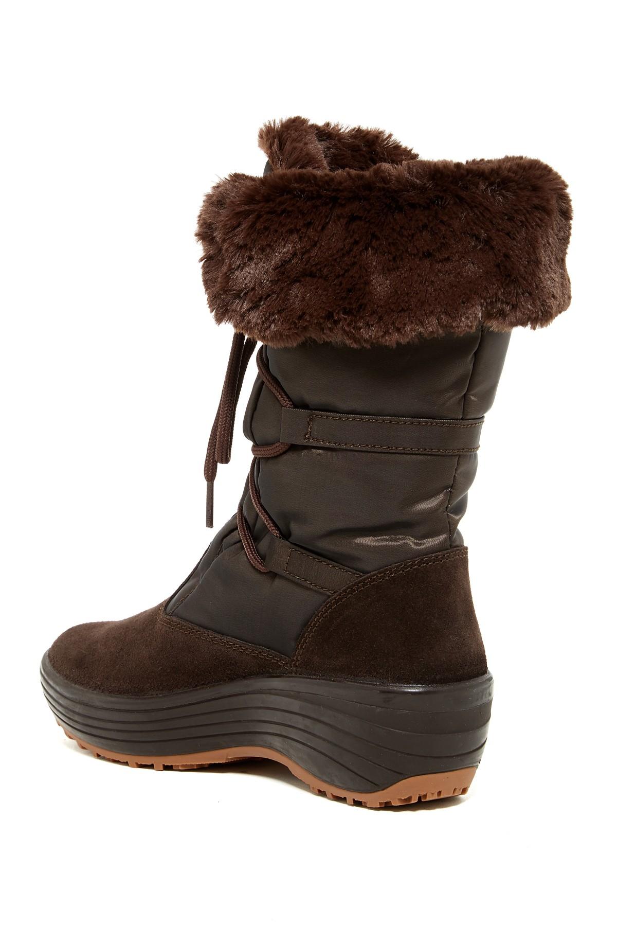 Pajar Paris Faux Fur Lined Boot In Brown Lyst