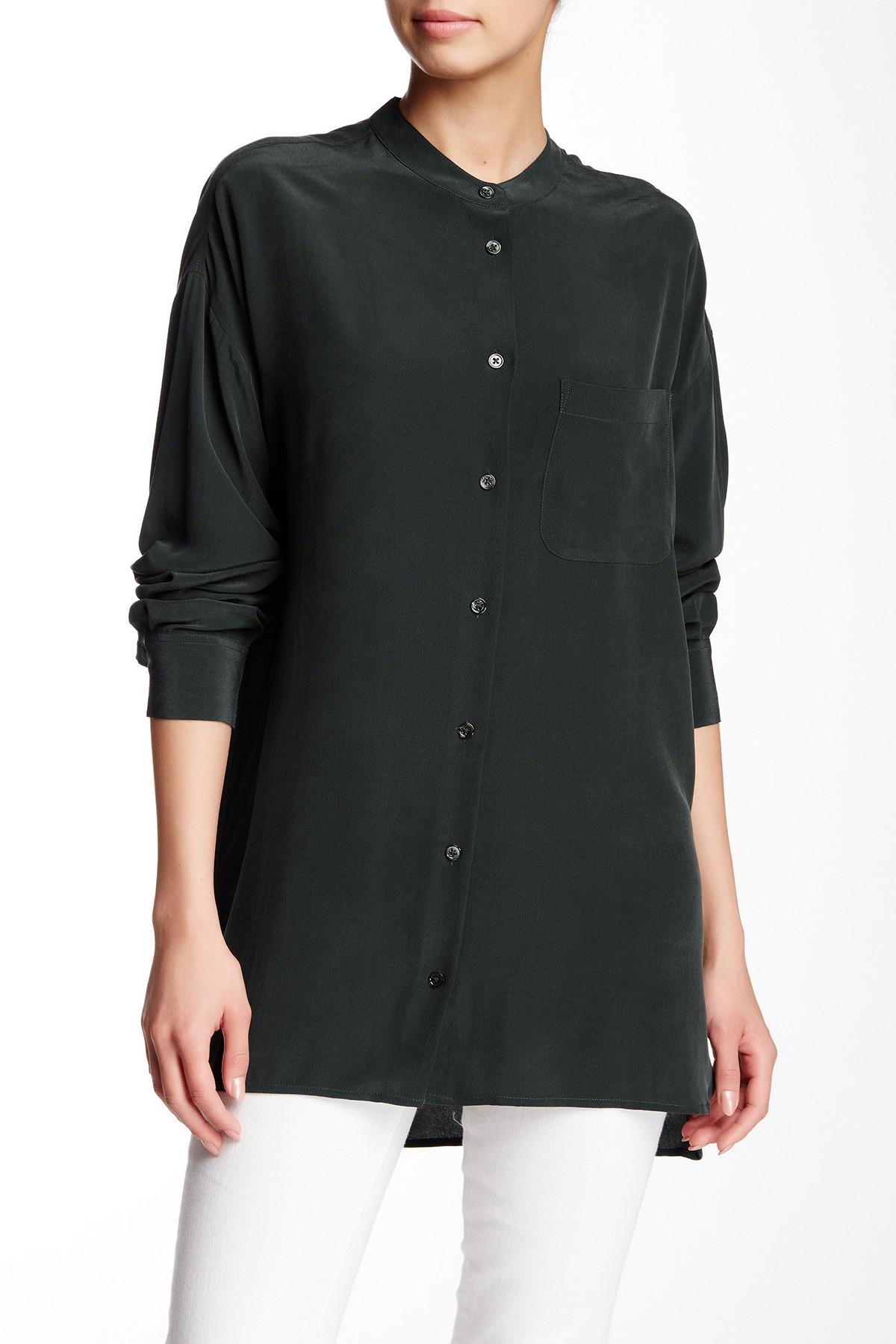 Lyst equipment melodie silk blouse in black for Equipment black silk shirt