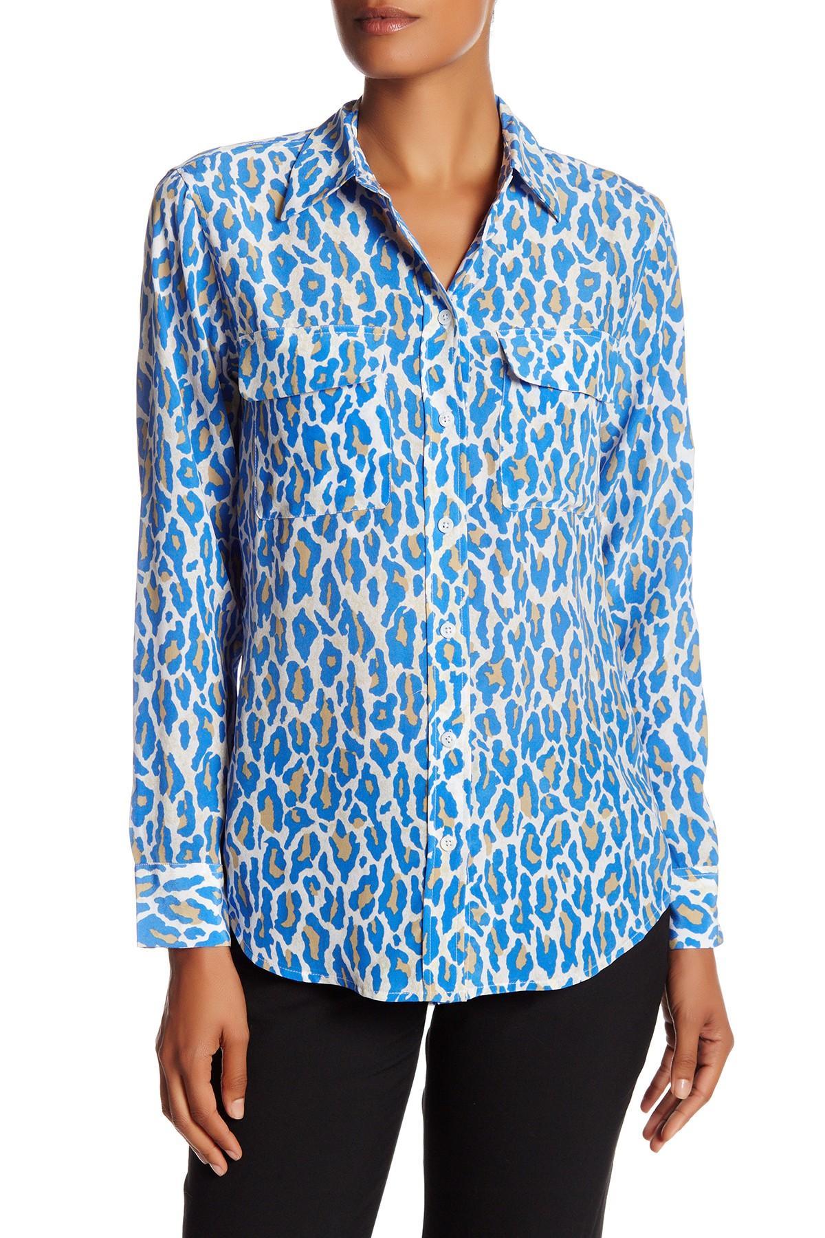 Equipment signature slim fit silk shirt in blue lyst for Equipment signature silk shirt