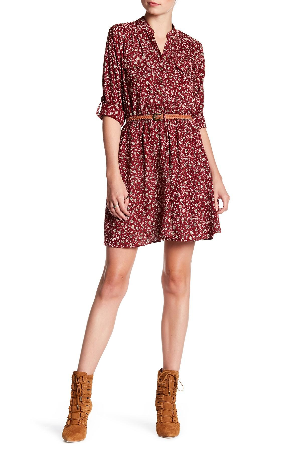 Angie Long Sleeve Button Up Shirt Dress In Red Lyst