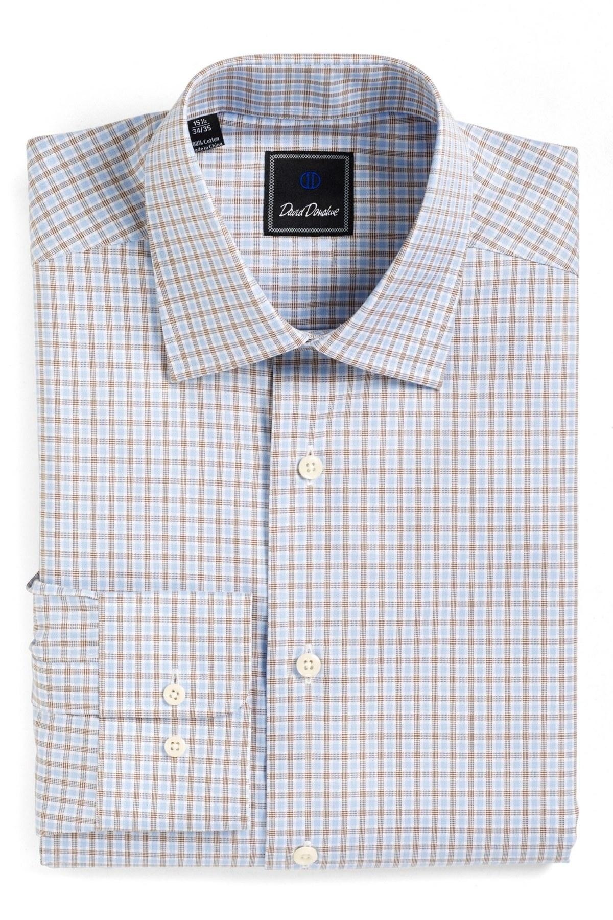 David donahue check regular fit dress shirt in blue for for David donahue french cuff shirts