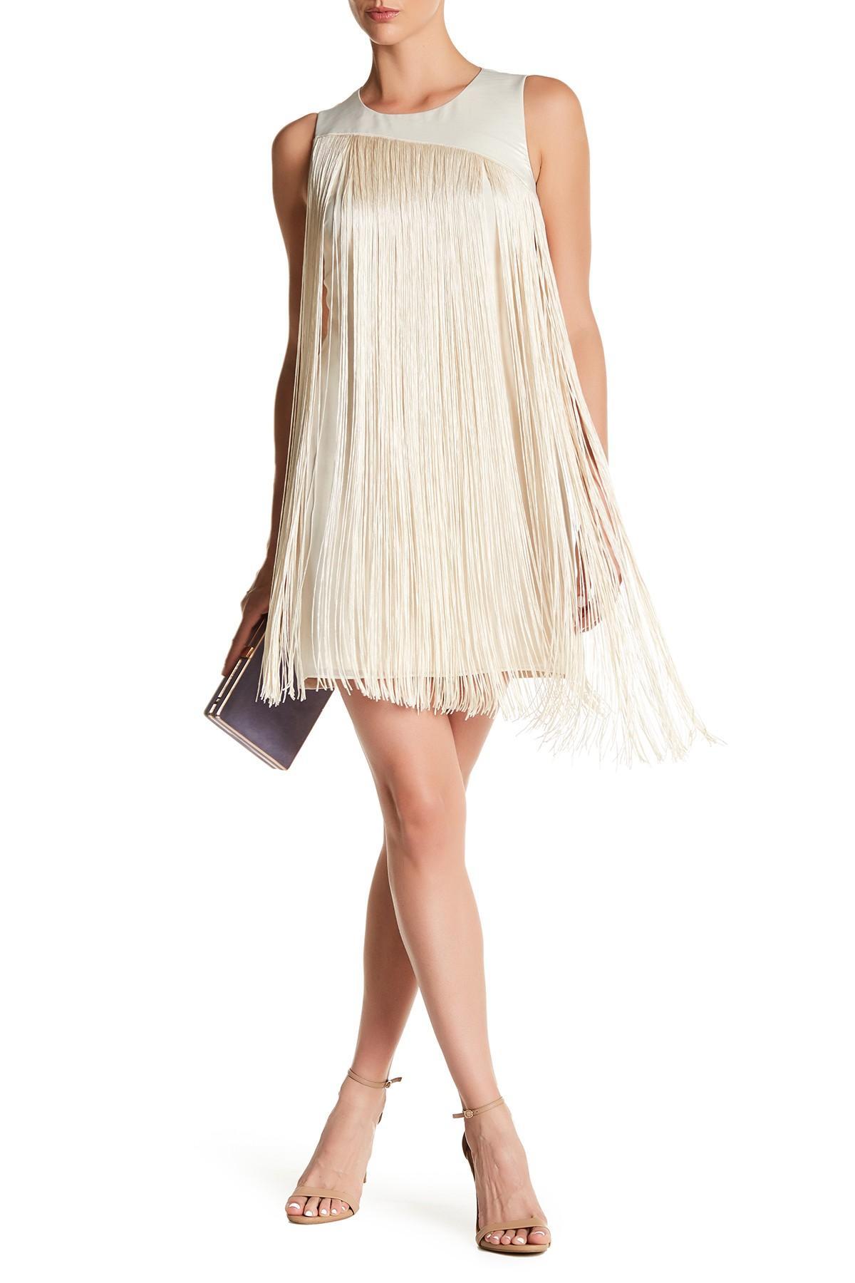 Rachel rachel roy fringe sheath dress in white lyst for Nordstrom rack dresses pour mariage