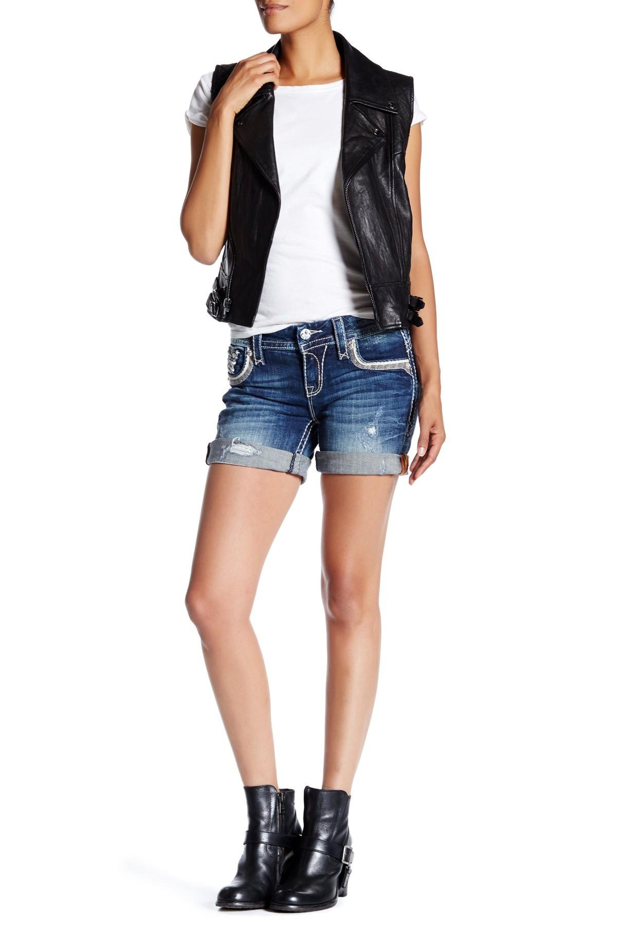 Rock revival Distressed Short in Blue | Lyst