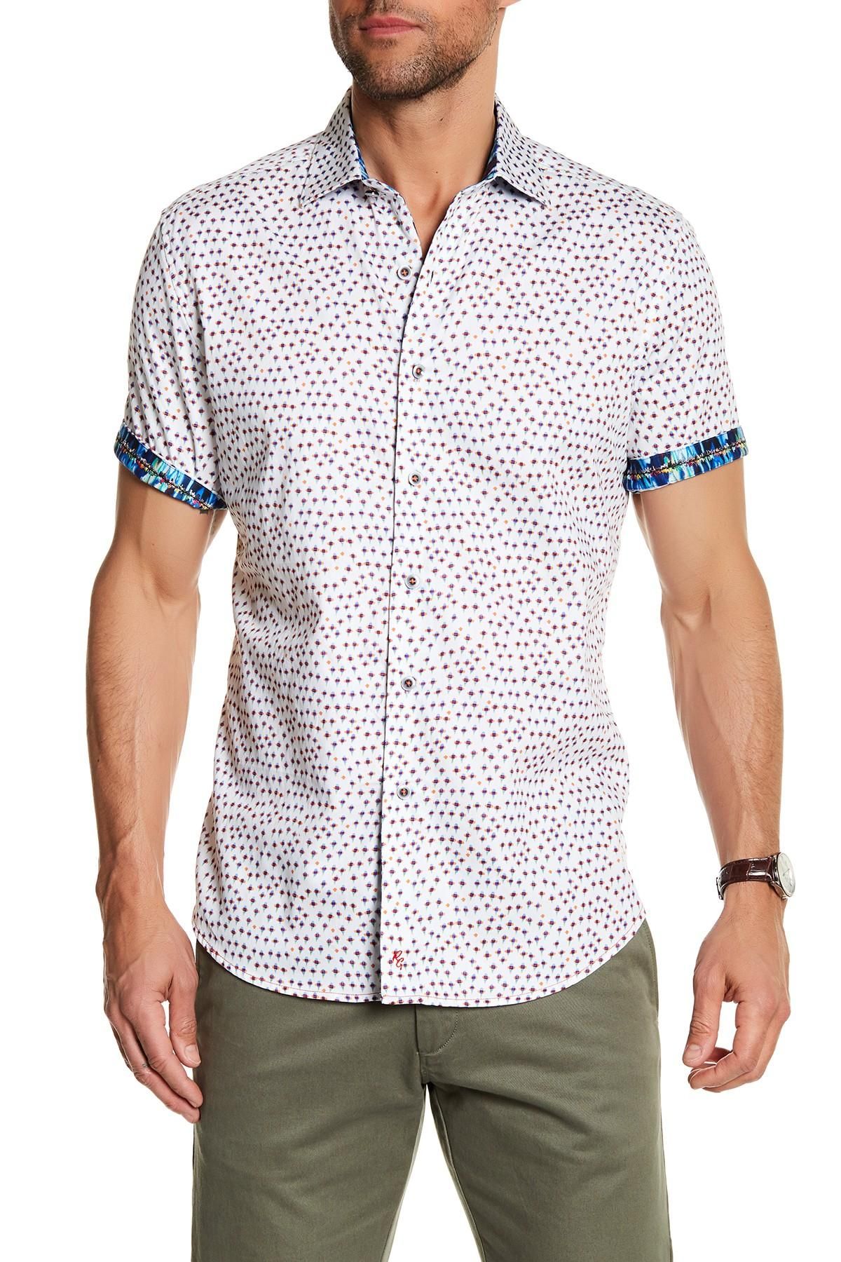 Lyst robert graham firefly short sleeve classic fit for Fitted short sleeve dress shirts for men