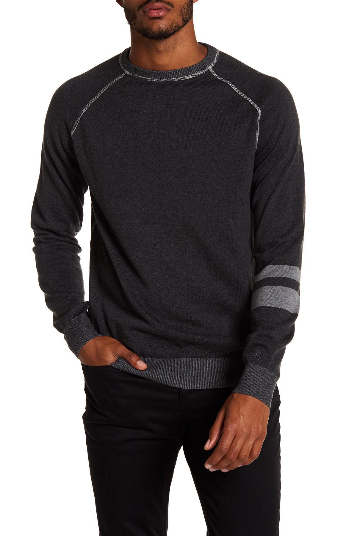 Agave Folsom Raglan Crew Neck Sweater in Gray for Men