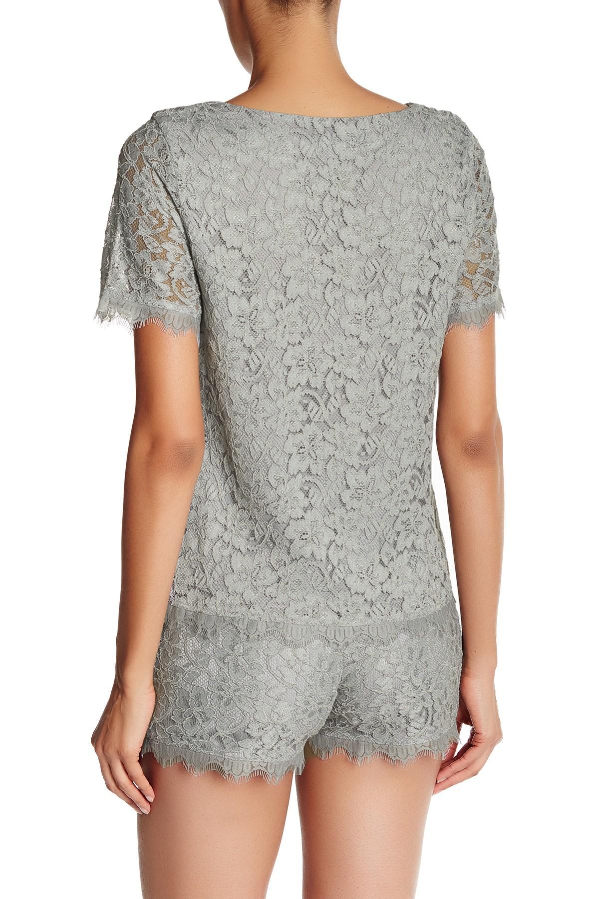 Lyst diane von furstenberg brylee lace shirt in gray for Diane von furstenberg shirt