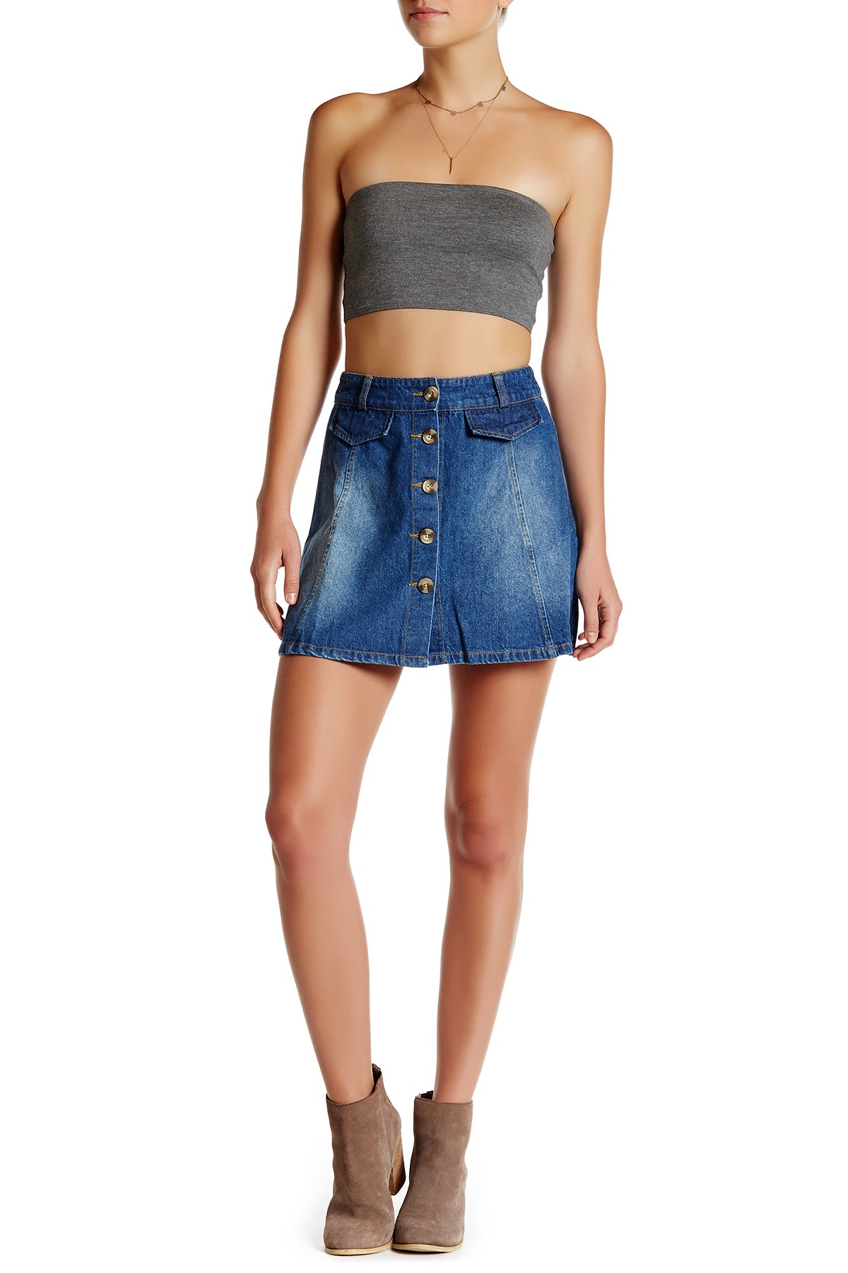 mimi chica button front a line denim skirt in blue lyst