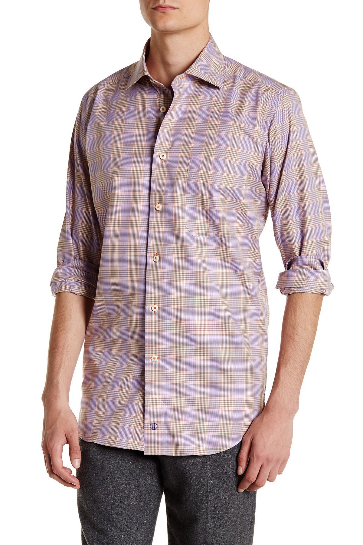 David Donahue Plaid Regular Fit Shirt In Purple For Men Lyst