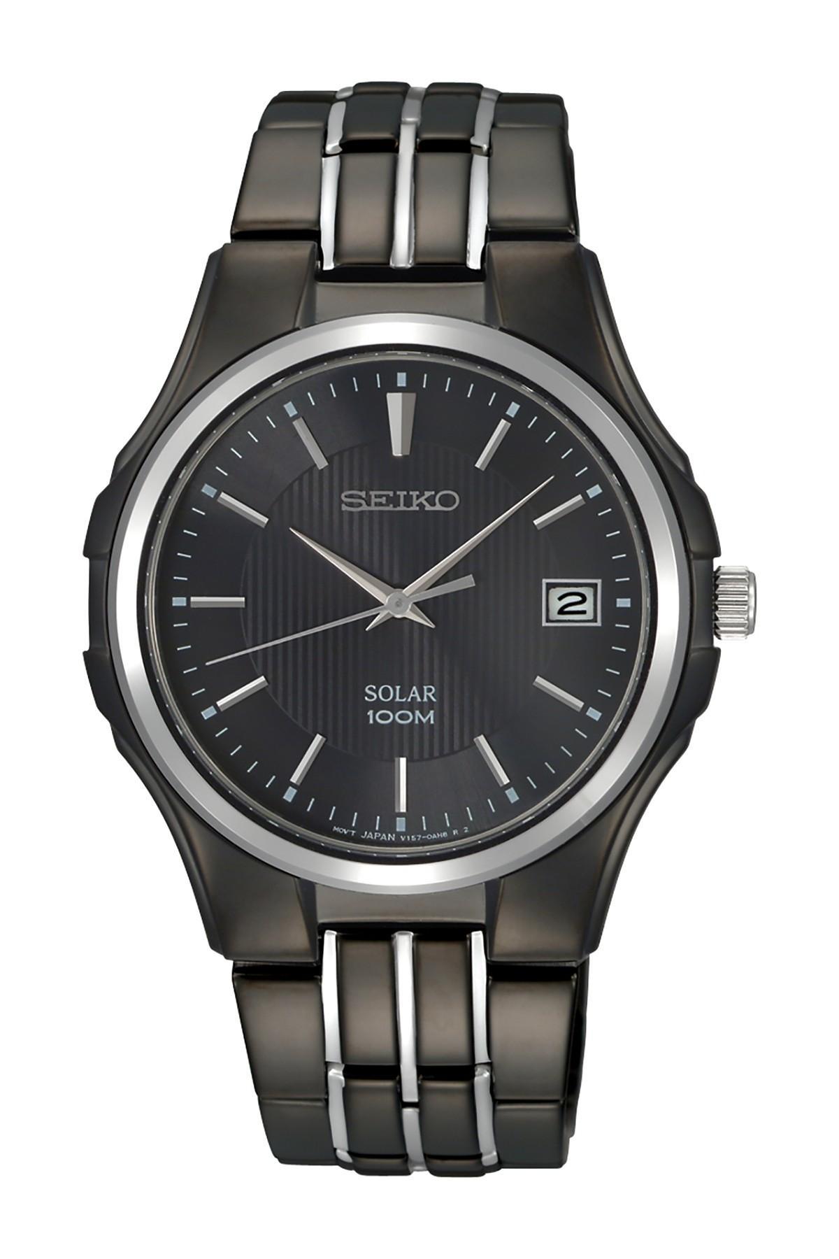 seiko men 39 s black dress watch in black for men lyst. Black Bedroom Furniture Sets. Home Design Ideas
