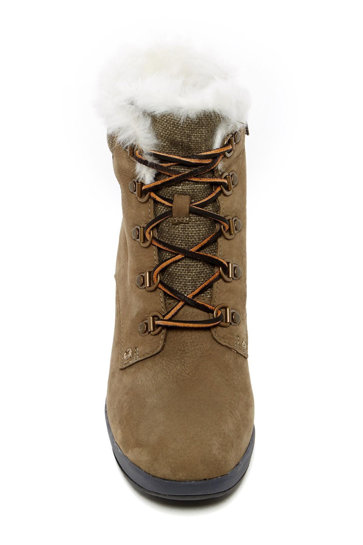 87cfb8f49b3f Lyst - Sperry Top-Sider Luca Peak Waterproof Faux Fur Wedge Boot