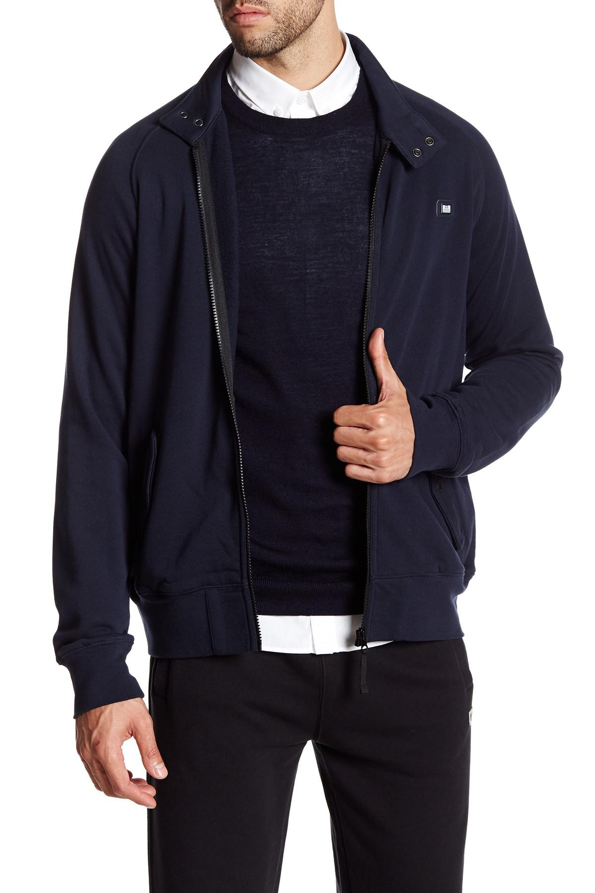 Weekend offender horden long sleeve zip up in blue for men for Banded bottom shirts canada