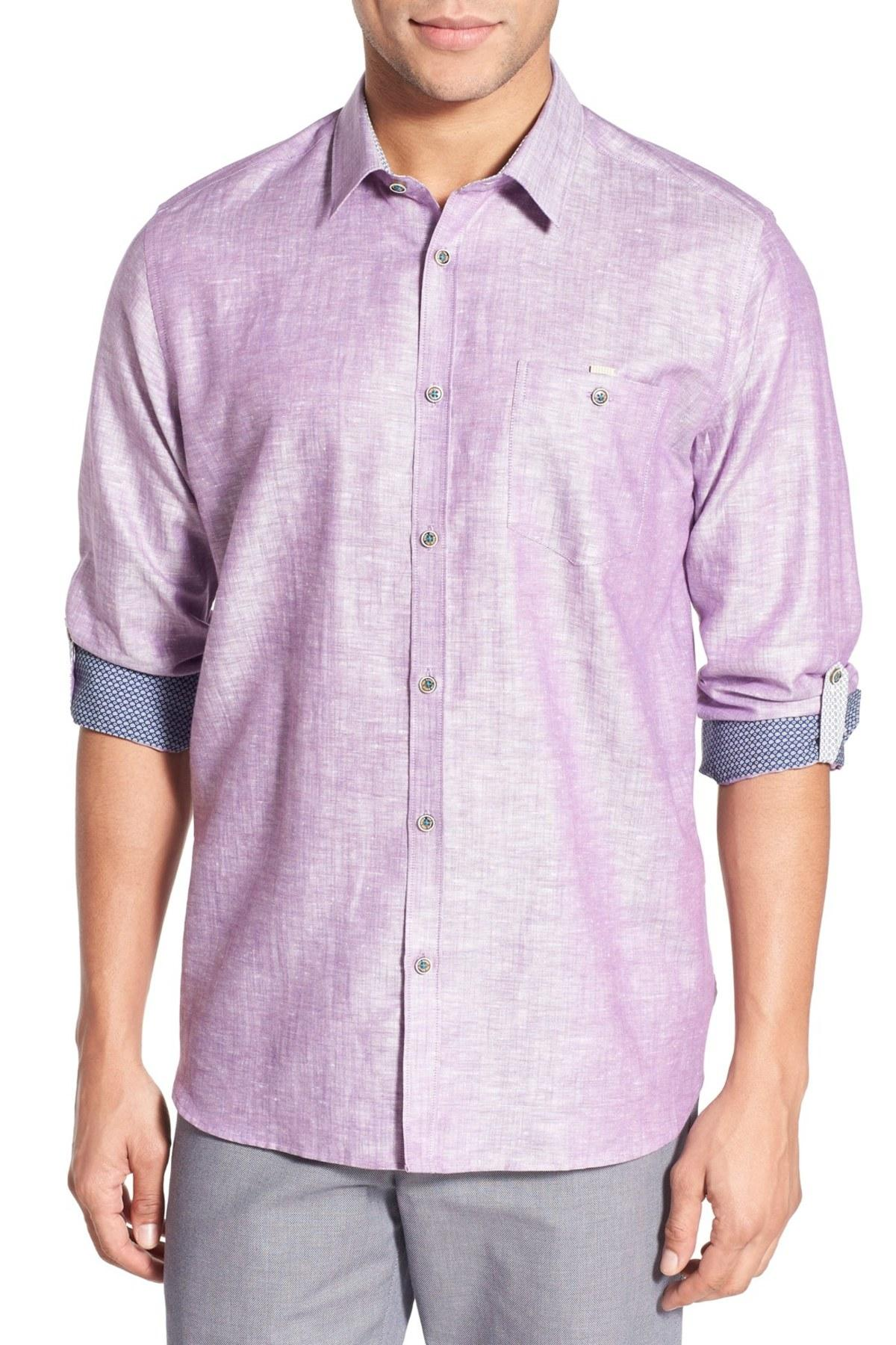 Lyst ted baker linoo slim fit sport shirt for men for Tailored fit shirts meaning