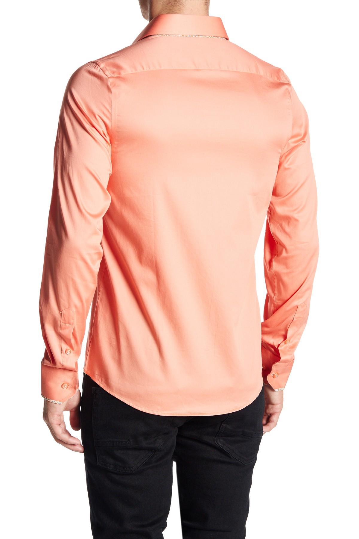 Lyst Tr Premium Vent Detail Slim Fit Dress Shirt In Pink For Men