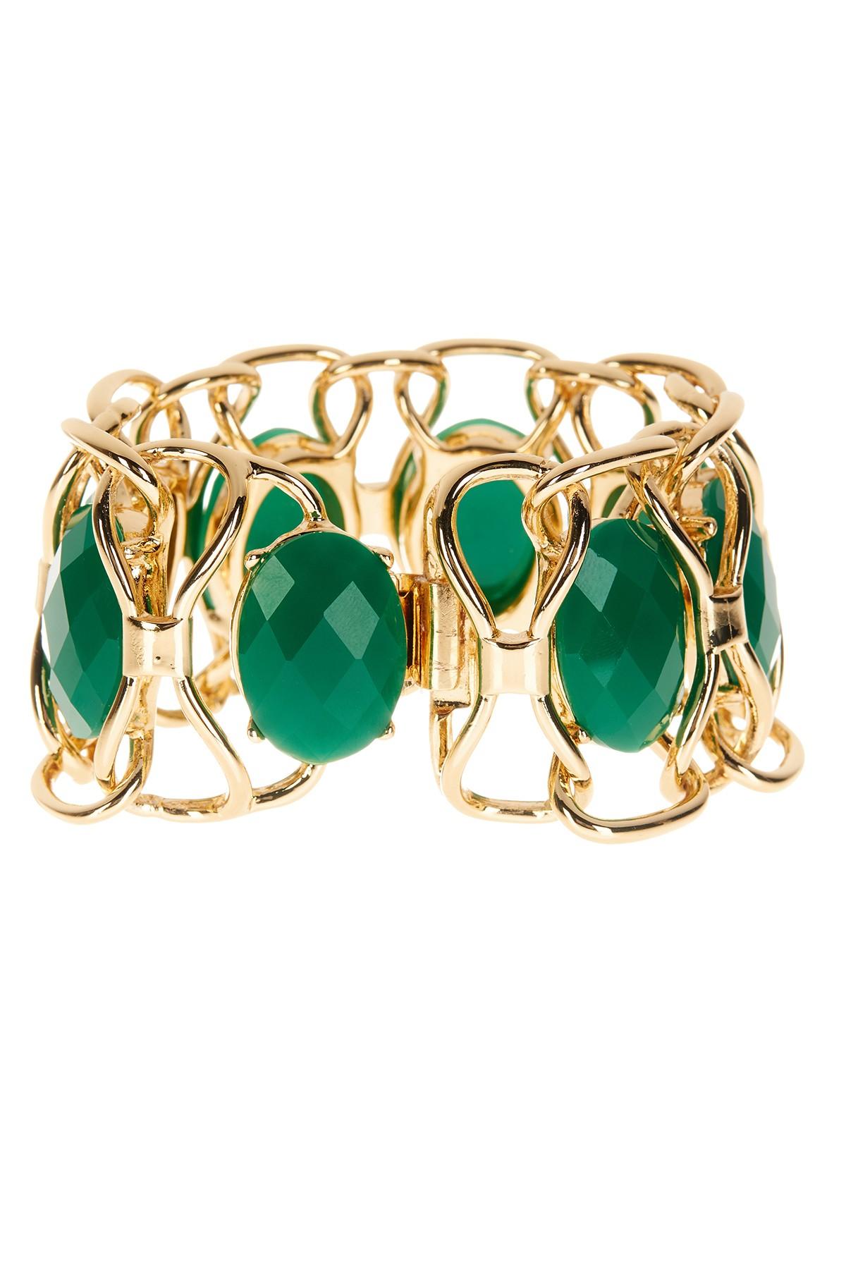 Nicole Miller Jewelry Box >> Lyst - Trina Turk Oval Stone Flex Bracelet in Green